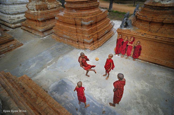 Monks playing, Bagan, Myanmar/Burma (Kyaw Kyaw Winn)