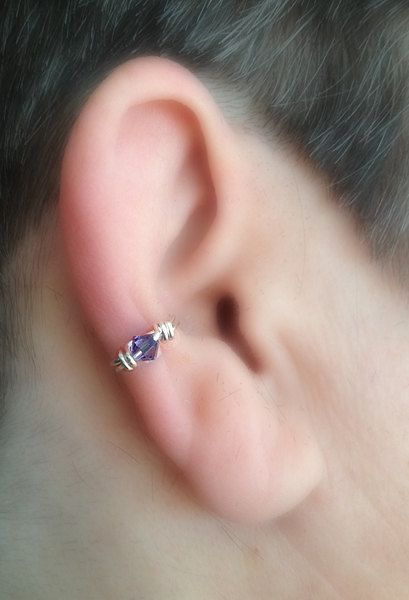 This is for single cuff as shown. Simple ear cuff, wire wrapped with a crystal accent. Choose a color you love or birthstone color.    Choose wire