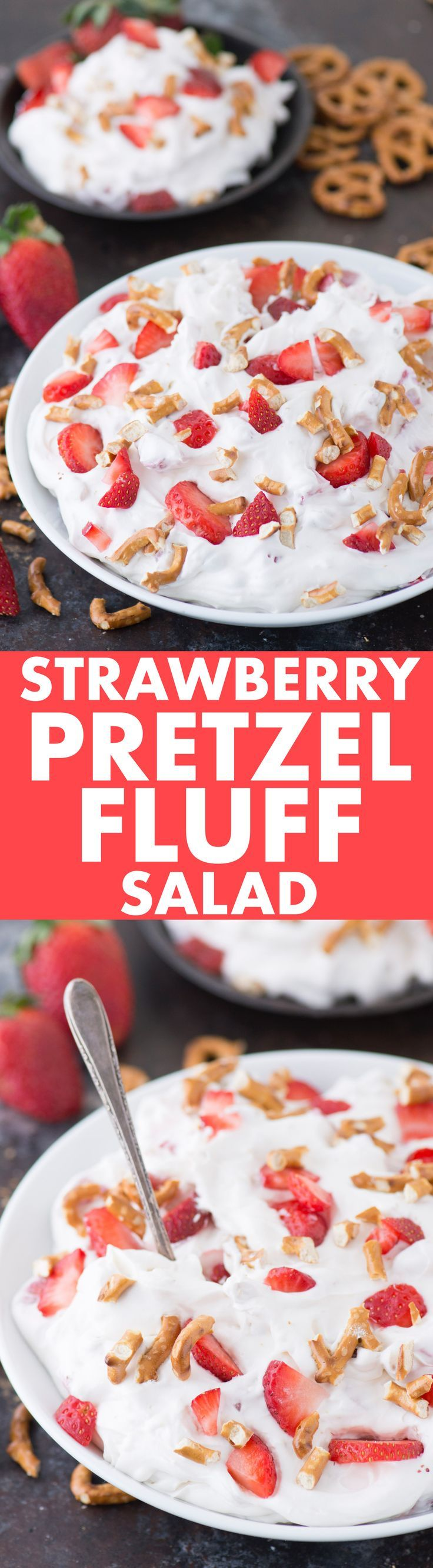 STRAWBERRY PRETZEL FLUFF SALAD! A dessert salad that reminds us of the classic strawberry pretzel bar dessert. A picnic recipe you can make in 10 minutes!