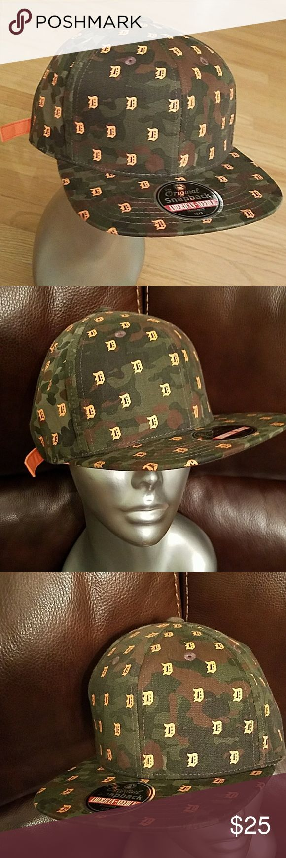 American Needle Detroit Tigers Camo Strapback Hat Official Cooperstown collection by american needle. DETROIT Tigers strapback cap.  Camo Green and bright orange. Unisex strapback cap.100% cotton. Brand new with sticker tag. American Needle Accessories Hats