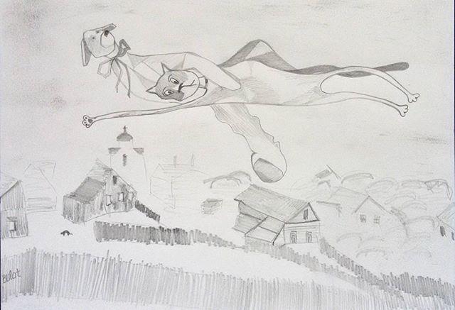 Laska over the town  #LaskaAdventures #marcchagall #overthetown #chagall #bulat #bulatdreams #drawing #art #cartoon #humor #cat #cute #humpday #picoftheday #illustration #minimalism #bocaratonart #bocaraton #palmbeach #kawaii