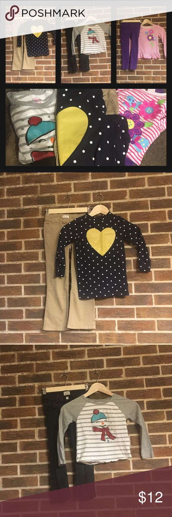 ⭐️$5 Final price drop All outfits are size 5. Pants- black & khaki pants are children's Place, and purple pants are jumping Bean Tops- snowman is Childrens Place, blue with gold heart is Osh Kosh and pink stripe is Kids Headquarters. These clothes have been worn and are not in brand new condition but there is still wear in them and they are priced to sell. osh kosh, childrens place, kids headquarters Matching Sets