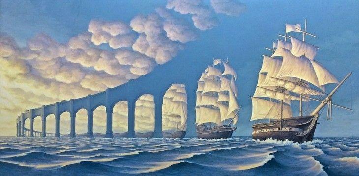 Pinturas de Rob gonsalves simulando unos barcos y unos puentes