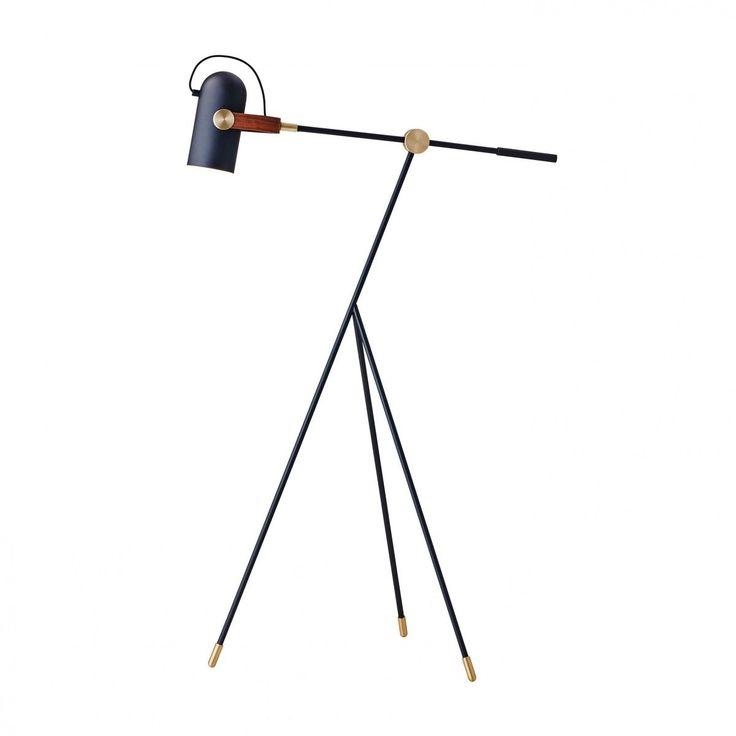 Le Klint - Le Klint Carronade Stehleuchte klein - schwarz/messing/nussbaum/matt/H: 111-133cm