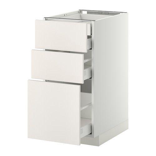 METOD / MAXIMERA Élt bas 3faces/2tir bas+1moy+1haut - blanc, Veddinge blanc, 40x60 cm - IKEA