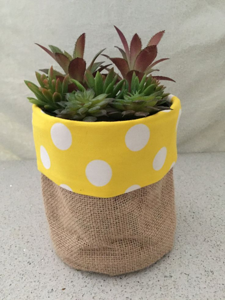 Fabric ( Burlap / Hessian ) Pot Pouch for indoor plants, perfect for succulents and cactus by TojoArtifacts on Etsy