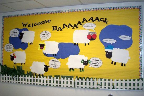 Welcome Baaaack Sheep Bulletin Board Idea