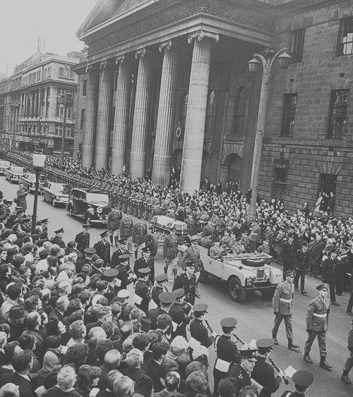 IRISH HISTORY.. O'Connell Street , Dublin (1965) Roger Casements remains return for burial at Glasnevin Cemetry , nearly 50 yrs after his death .