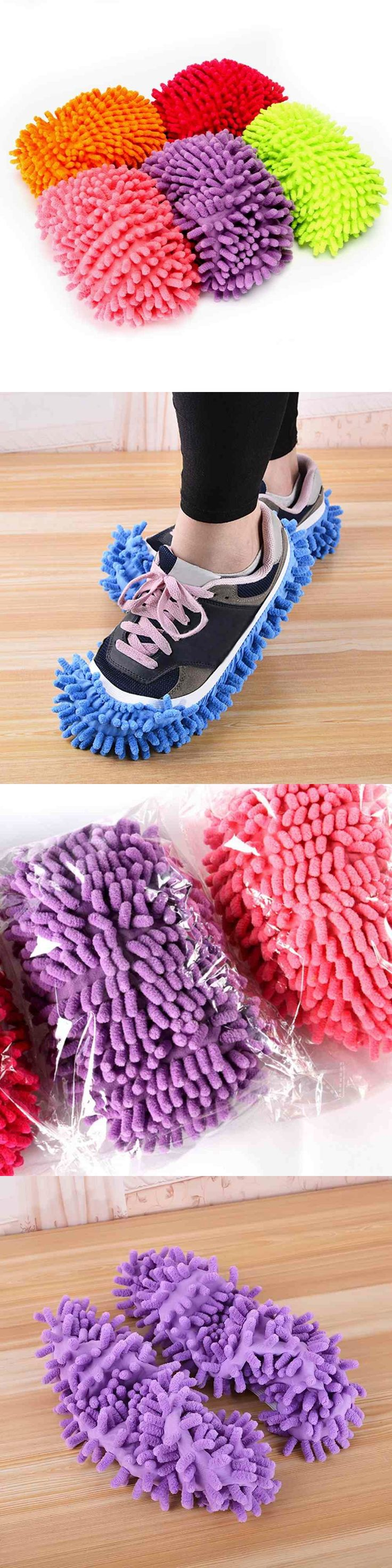 2pcs Home Mop Sweep Floor cleaning duster cloth housework lazy soft Slipper shoes Color Random