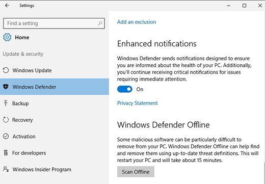 Windows Defender Offline start scan