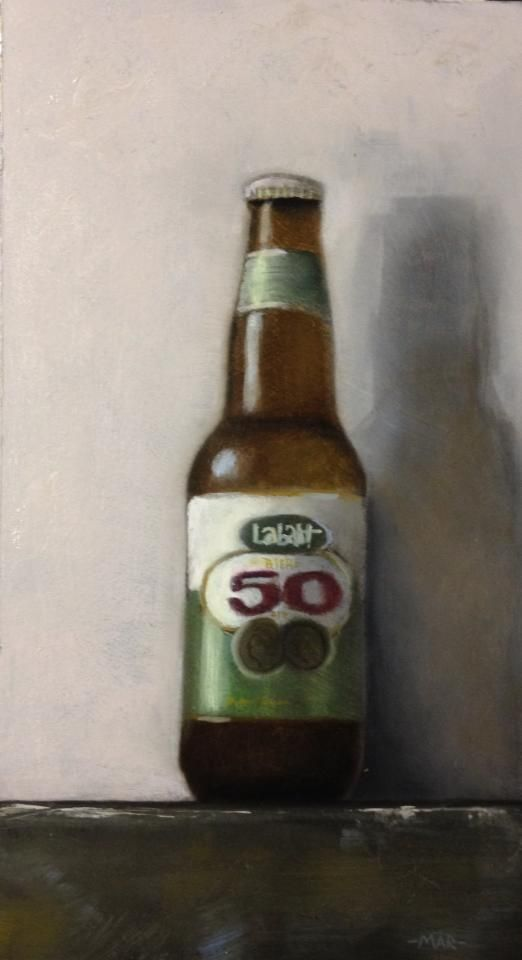 Still life Labatt 50 : Oil painting of Marc-André Robert  marcandrerobert.ca