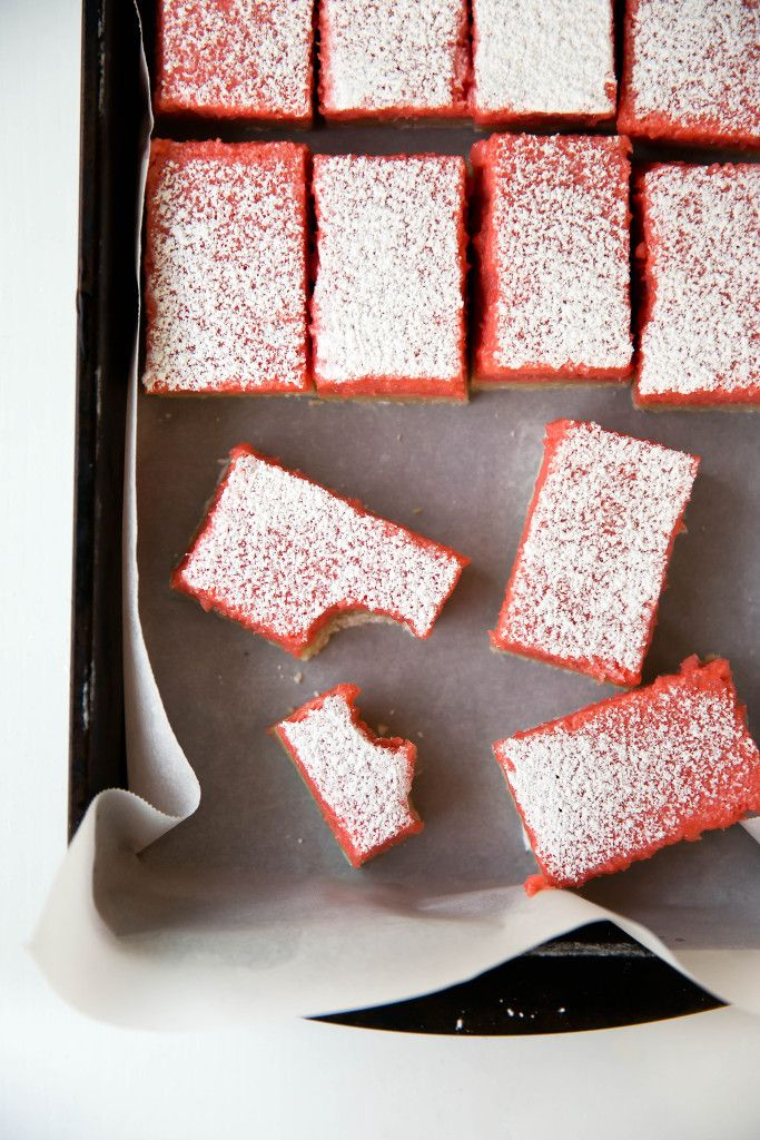 Rhubarb Bars: like a lemon bar, but with a bright and juicy rhubarb twist! #Bars #Rhubarb