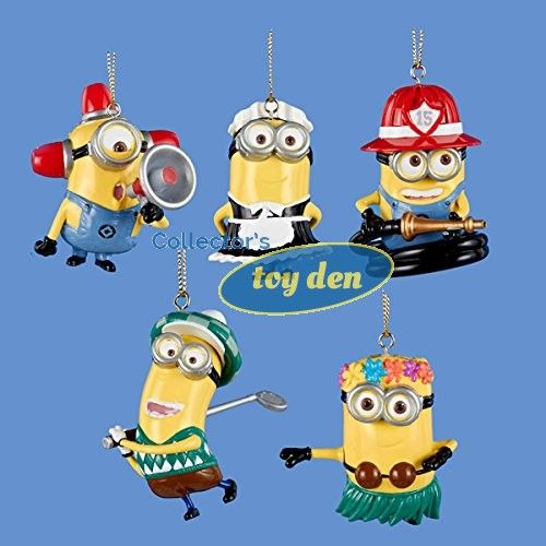 Despicable Me - French Maid, Fire Hose, Fire Alarm, Golfer & Hula Minions Ornament Assortment