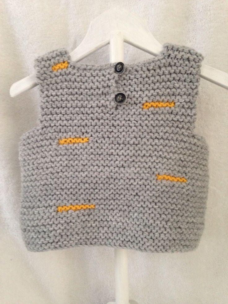 Débardeur géométrique T: 6 mois de couleur gris et jaune : Mode Bébé par tricoco