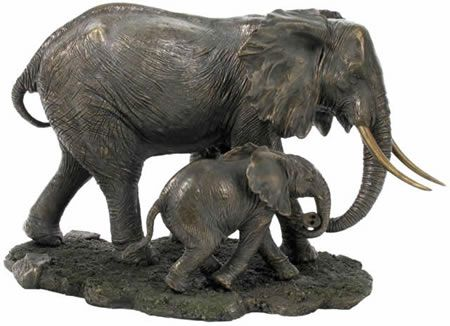 African elephant and baby sculpture statue in cold cast African elephant home decor