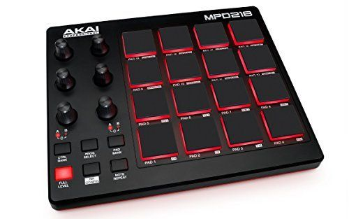 Akai Professional MPD218  MIDI Drum Pad Controller with Software Download Package 16 pads  6 knobs  6 buttons >>> Click image for more details.