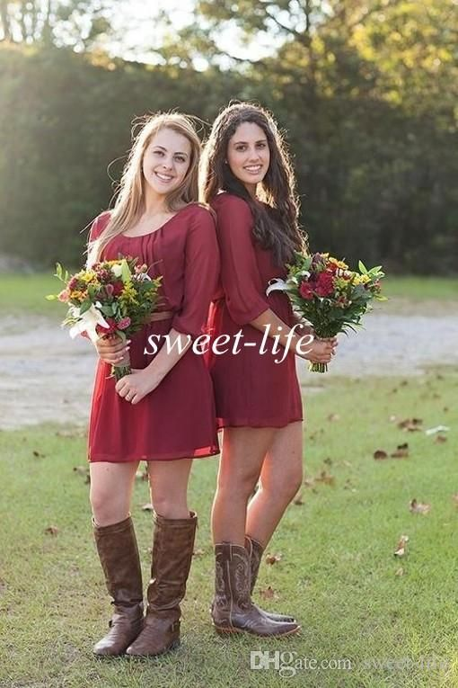 2015 Short Bridesmaid Dresses Burgundy with Half Sleeve Scoop Chiffon Mini Sash A Line Short Party Prom Dresses Wedding Maid of Honor Dress