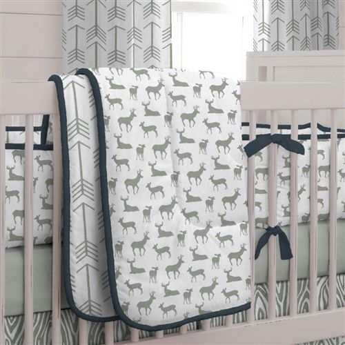 Navy and Gray Deer 3-Piece Crib Bedding Set | Carousel Designs