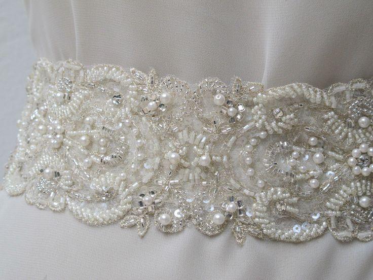 "Beaded Bridal Wedding Sash Belt 7 cm with pearls crystal beads ivory 18"" Ready to Ship. $50.00, via Etsy."