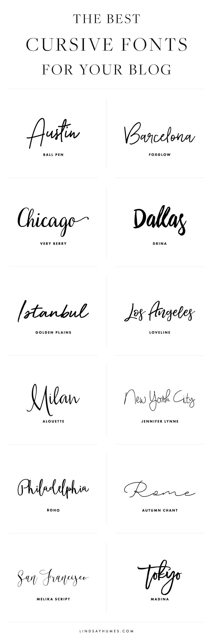 The Best Cursive Fonts for Your Blog Design, Script fonts to use in your branding, blog design, typography, hand lettering