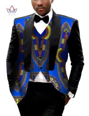 Traditional African Clothing Denim Blazer Men Casual Style African Print Dashiki for Mens Brand-Clothing Suit Jackets WYN176