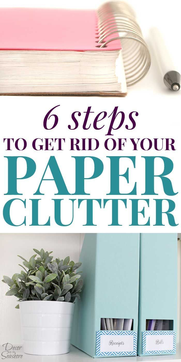 Paper clutter overwhelming your home? Learn how you can get rid of the paper clutter in just 6 steps! These paper clutter solutions will help you organize your paperwork and eliminate all those papers. Paper clutter organization is really simple with these easy instructions! | decorbytheseashore.com #clutterhelp