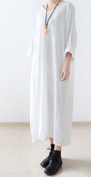 White cotton dress long sleeve linen spring dresses oversize caftans