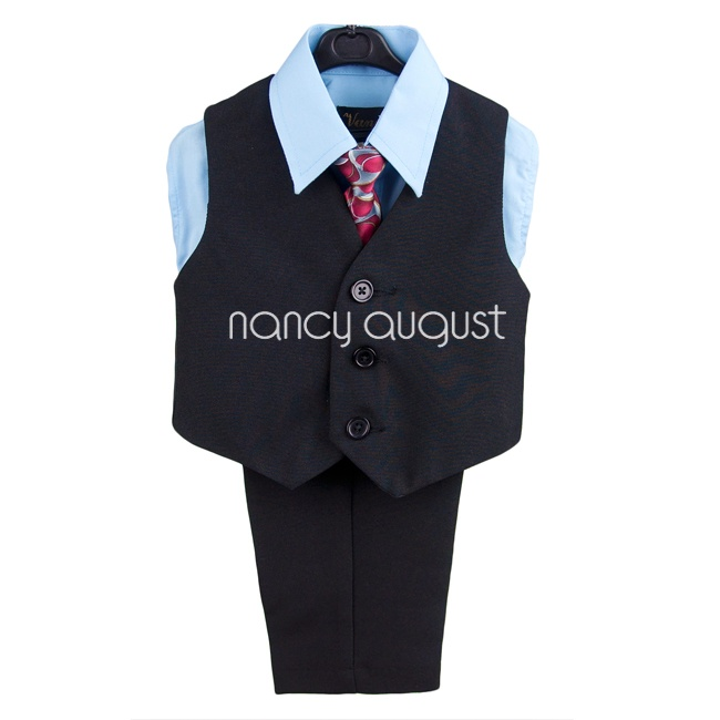 Toddler Boy Black Suit Vest Set with Sky Blue Shirt & Art Deco Tie: We are not going to forget the stylish little boys! They might be small but they also need some hand for their makeover. Take a look at this dashing black infant boy vest set that is an absolute splendor of a design. The lilac button down dress shirt comes with a matching art-deco inspired tie and pocket square—we know that you won't find anything like this for your little boy of yours in the kids section.
