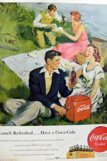 Coca Cola cooler picnic  via Vintage Pictures
