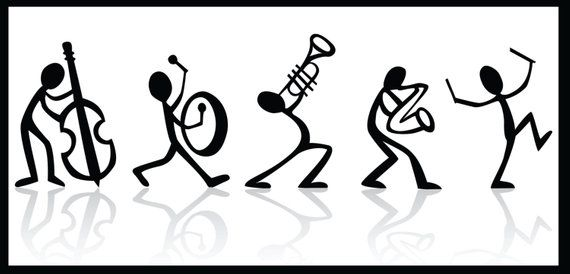 Musical Poster Stick Figure Marching Band Wall Art Typography