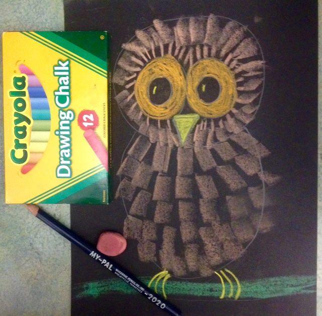 Kindergarten Art Lessons, Elementary Art Lesson, Crayola, Chalk, Owls, Owl art, Fall art, Winter art, www.ArtTeacherinLA.com