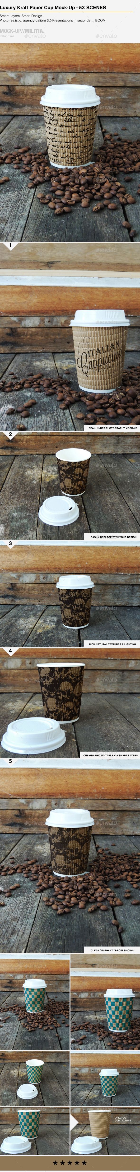Luxury Kraft Paper - Disposable Coffee Cup Mock-Up   Download: http://graphicriver.net/item/luxury-kraft-paper-disposable-coffee-cup-mockup/9171934?ref=ksioks