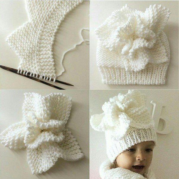 шапка для девочки спицы hat for girl knit