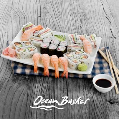 Da Sushi! The best of both worlds, authentic Japanese-style sushi served in generous South African-sized portions at Ocean Basket.   (For more information on Ocean Basket click on the image)