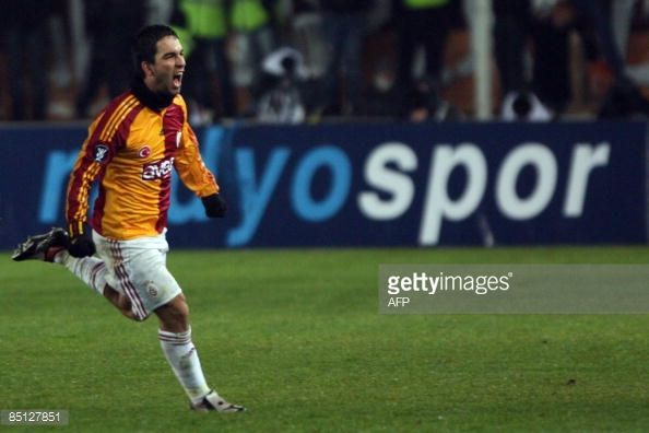 Galatasaray's Arda Turan celebrates after his goal against Bordeaux during their UEFA football cup match Bordeaux versus Galatasaray on February 26...