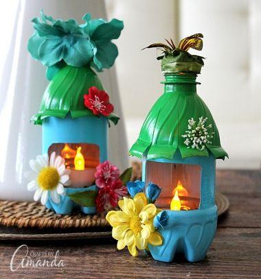 DIY Fairy house light (or bird feeder) from plastic bottles - recycling // Tavasz tündér házikó lámpás műanyag palackból - újrahasznosítás // Mindy - craft tutorial collection // #crafts #DIY #craftTutorial #tutorial