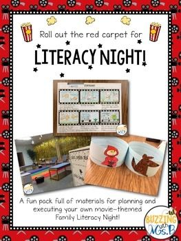 A fun pack full of materials for implementing your own literacy night! Invite parents and families to participate in 7 fun movie themed activities, centered on the books Amelia Makes a Movie and Curious George Goes to a Movie.This pack includes...- Tips/Pointers for putting materials together (learned from personal experience!)- Flyer to notify families of event- Pictures of the stations from our own Roll Out the Red Carpet for Literacy Night- Posters for 7 different stations- One poster…