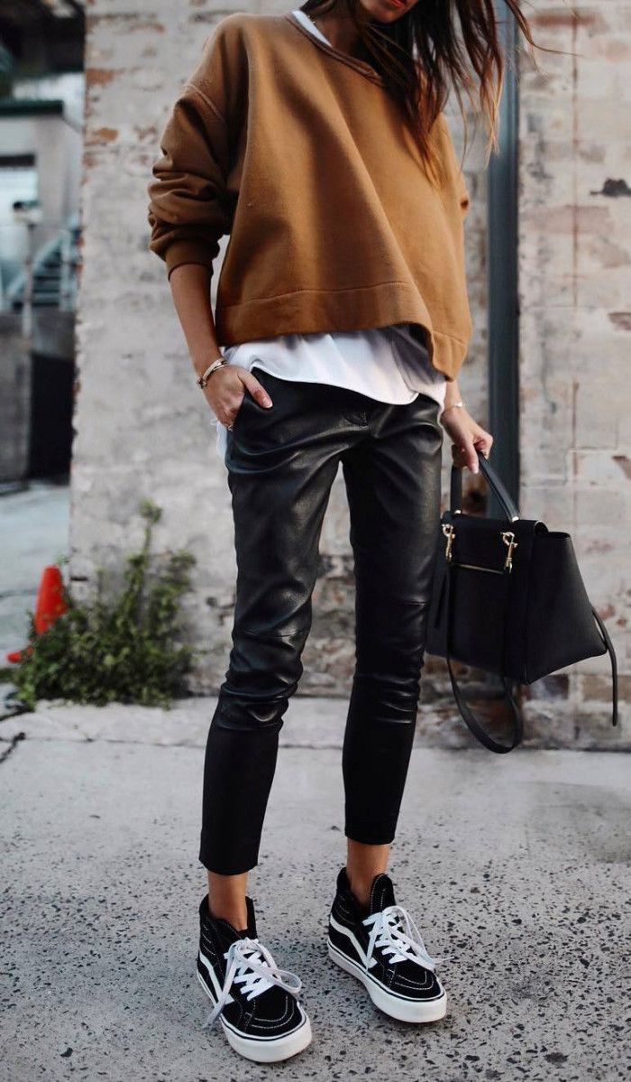 trendy fall outfit / brown top white tee bag black leather pants sneakers