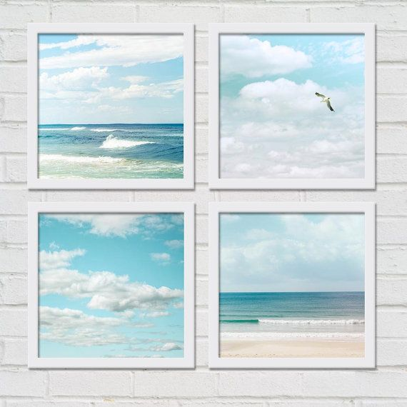 Beach photography birds in flight print set nautical decor coastal prints  8x8 inch fine art ocean photo set gulls seagulls waves sky clouds