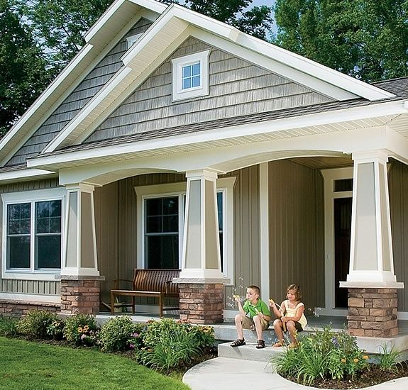 Houses With Stone Columns : Colors stone gray shake siding with white trim for the
