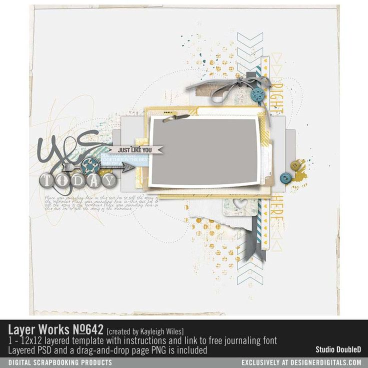Layer Works No 642 layered scrapbook page in PSD file format and PNG page drops…