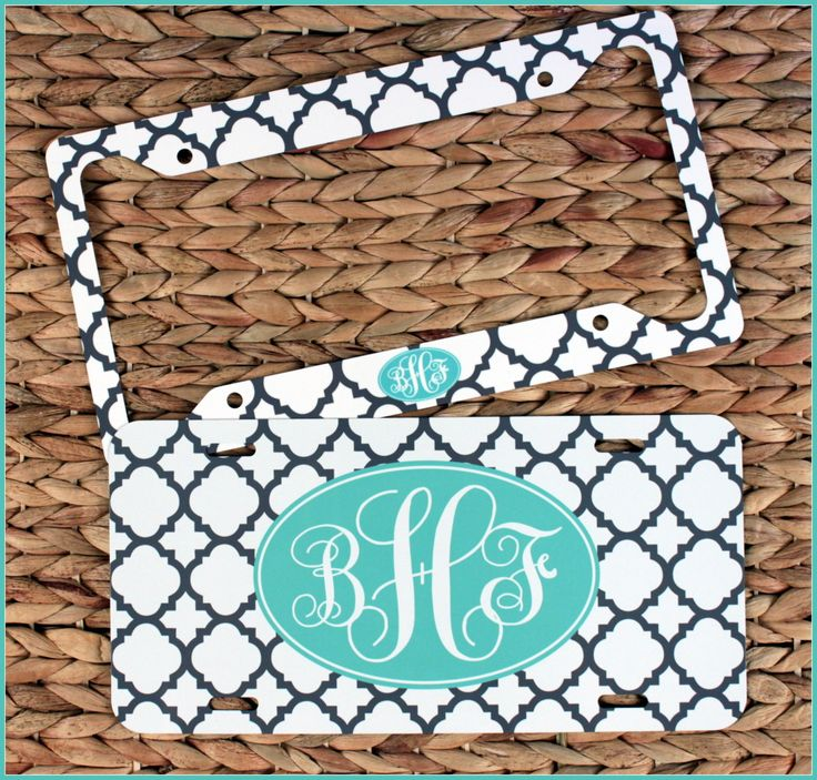 Gift Set Front License Plate + License Plate Frame Set Monogrammed Gift Personalized Cute Car Accessories For Women Custom License Monogram by ChicMonogram on Etsy
