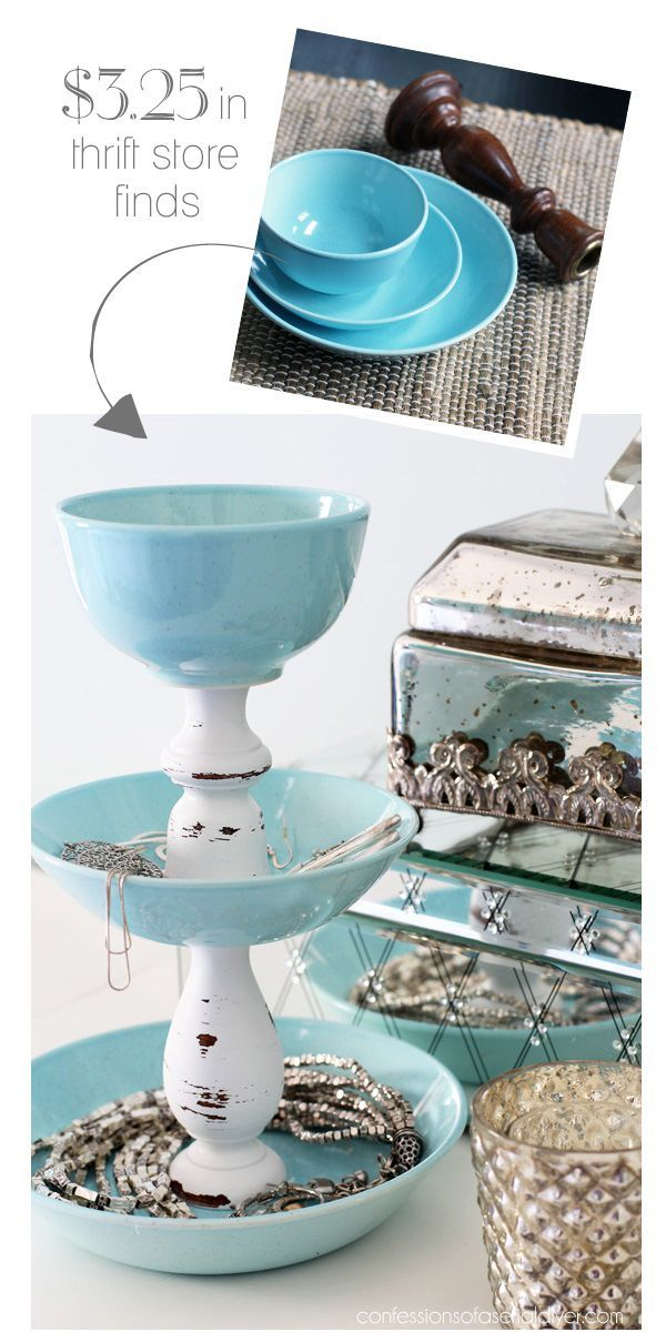 DIY Jewelry TowerUse thrifted or Dollar Store items to create vertical jewelry storage.Yes, the glued together jewelry tower has been done before, but I really like the aqua dishes in this design, as well as the use of the cup at the top.Find more Jewelry Display DIYs here.You can find this DIY Jewelry Tower fromConfessions of a Serial Do-It-Yourselfer her.