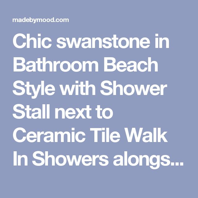 Chic swanstone in Bathroom Beach Style with Shower Stall next to Ceramic Tile Walk In Showers alongside Tile And Wood Flooring and Floor Tile