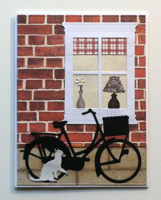 Card, brick wall, window, bicycle cat, #bikecard #windowcard