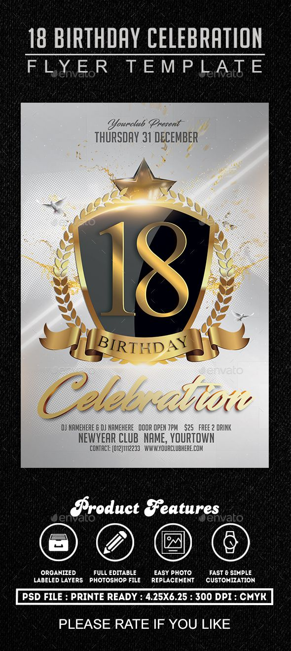 Best Birthday Flyers Images On   Flyer Template Font