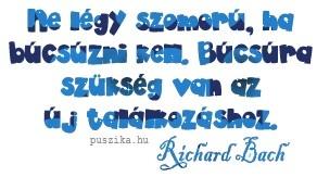 """""""Ne légy szomorú, ha búcsúzni kell, búcsúra szükség van az új találkozáshoz."""" Richard Bach"""