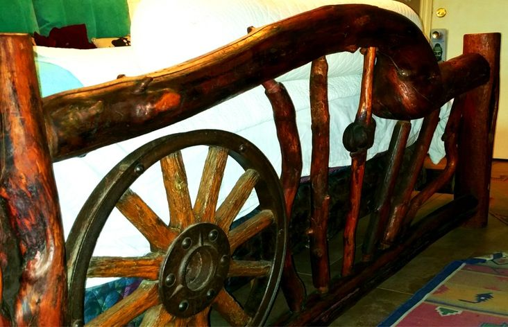 Wood Log Industrial Wagon Wheel Cal King Bed Frame