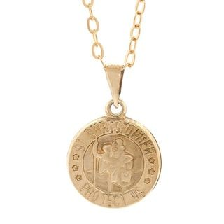 Pori 14k Yellow Gold Saint Christopher Medallion Pendant Necklace with 18k Gold-filled Cable Chain | Overstock.com Shopping - The Best Deals on Gold Necklaces