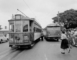Historic Photos Perth: WAN-0002556 © WestPix 01/02/1958. THE LAST TRAM TO NORTH PERTH.